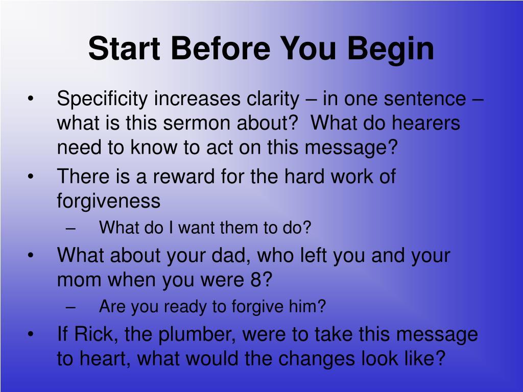 Start Before You Begin