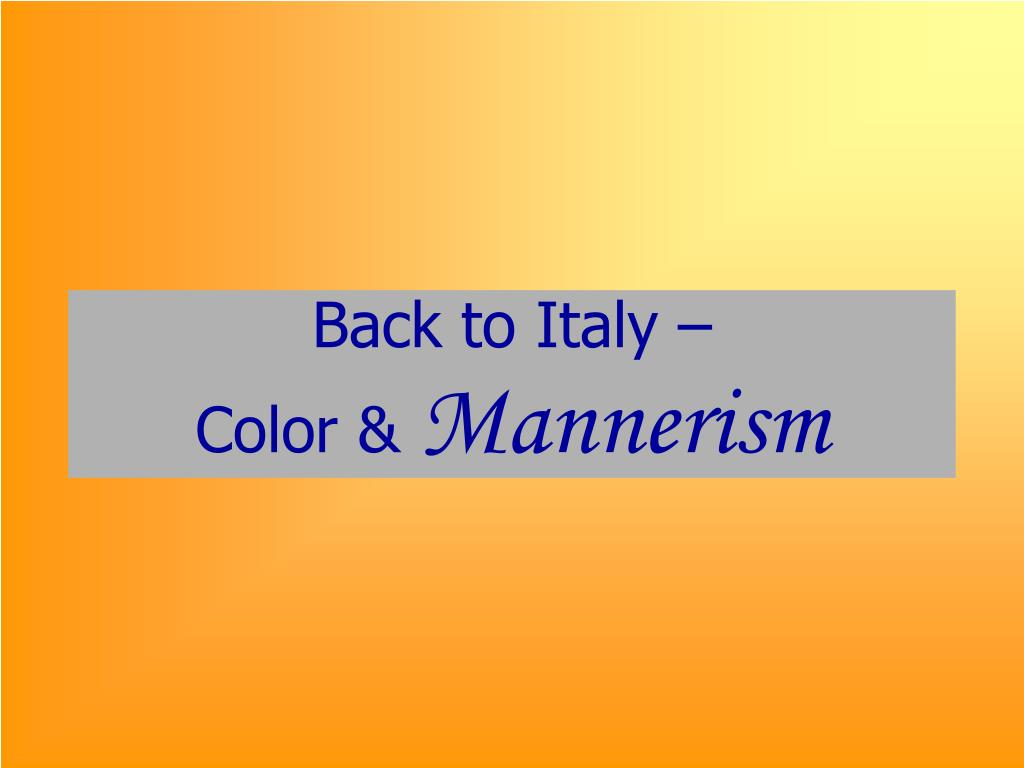 Back to Italy –