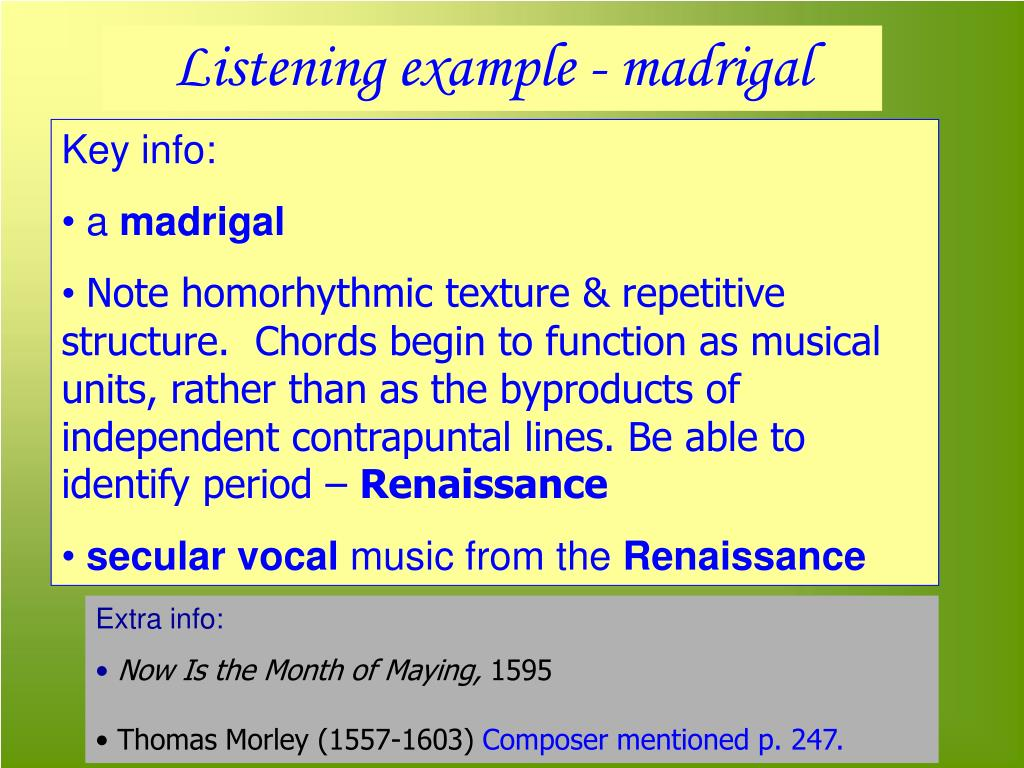 Listening example - madrigal