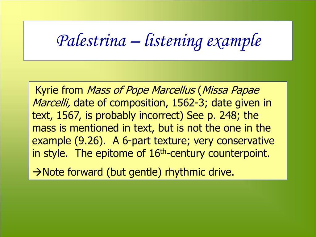 Palestrina – listening example