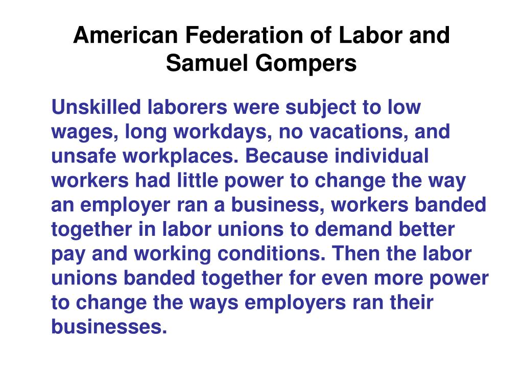 American Federation of Labor and Samuel Gompers