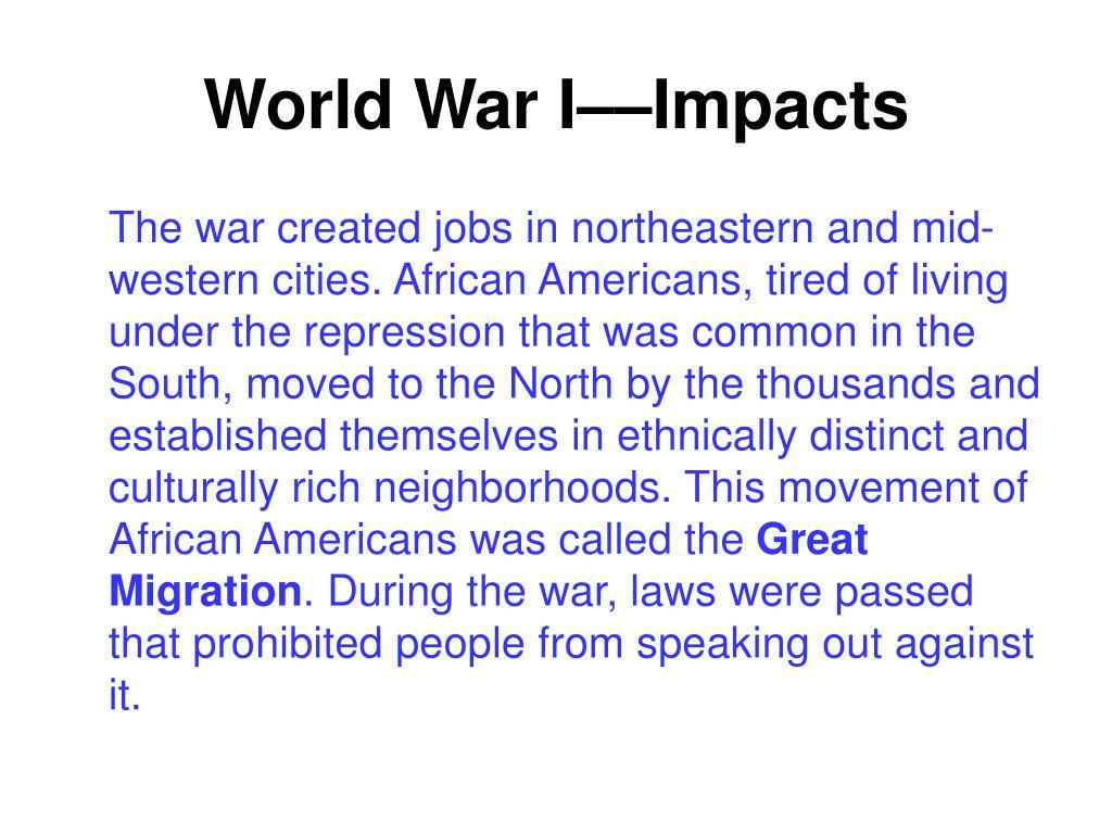 World War I––Impacts