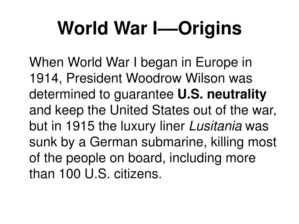 World War I––Origins