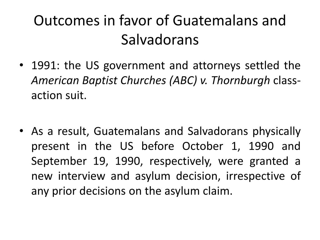 Outcomes in favor of Guatemalans and Salvadorans