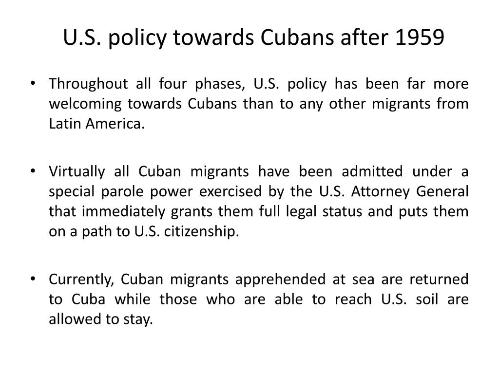 U.S. policy towards Cubans after 1959