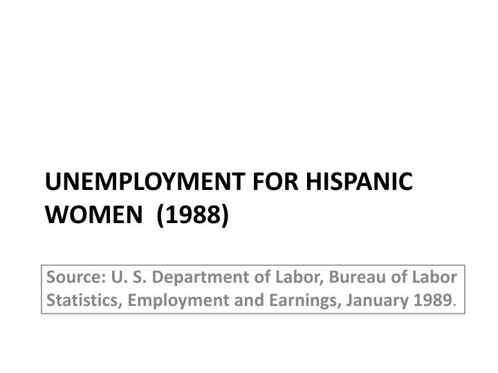 Unemployment for hispanic women 1988