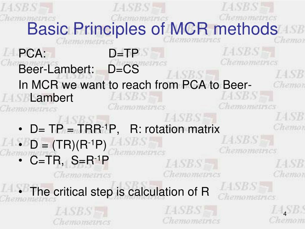 Basic Principles of MCR methods