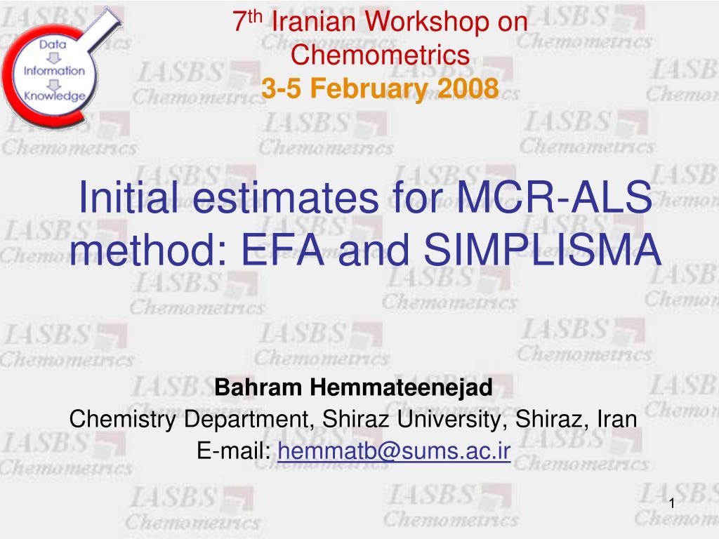 initial estimates for mcr als method efa and simplisma