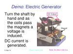 demo electric generator