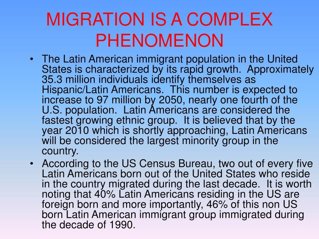 MIGRATION IS A COMPLEX PHENOMENON