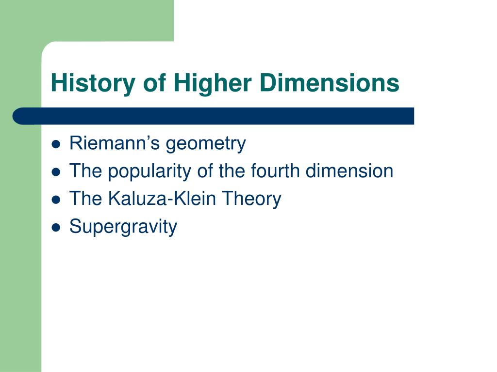History of Higher Dimensions