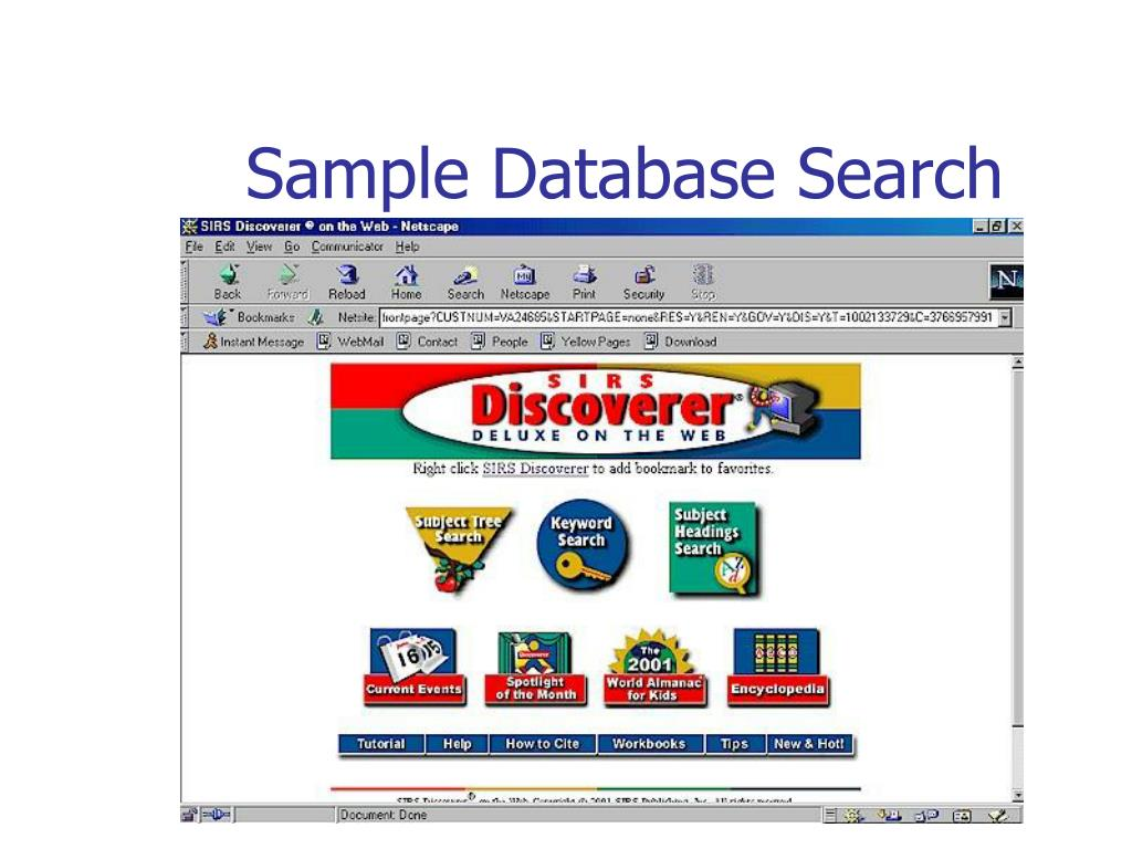 Sample Database Search
