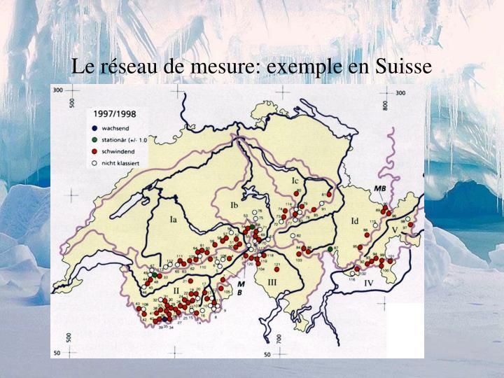 Le réseau de mesure: exemple en Suisse