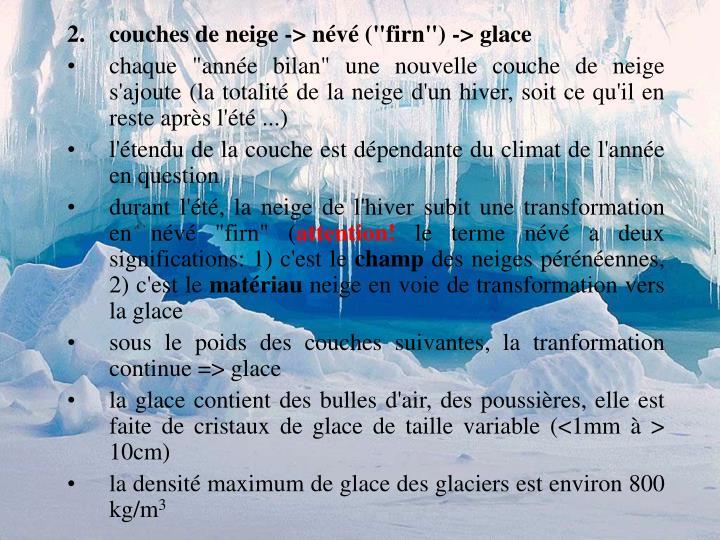"""couches de neige -> névé (""""firn"""") -> glace"""