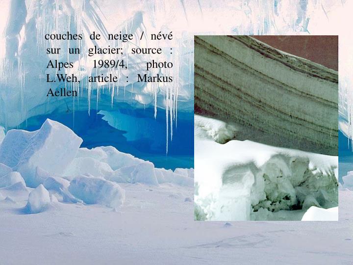 couches de neige / névé sur un glacier; source : Alpes 1989/4, photo L.Weh, article : Markus Aellen