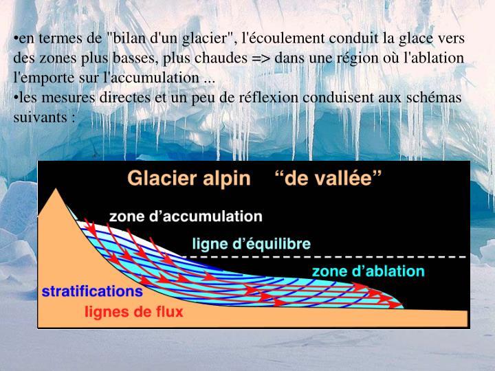 """en termes de """"bilan d'un glacier"""", l'écoulement conduit la glace vers des zones plus basses, plus chaudes => dans une région où l'ablation l'emporte sur l'accumulation ..."""