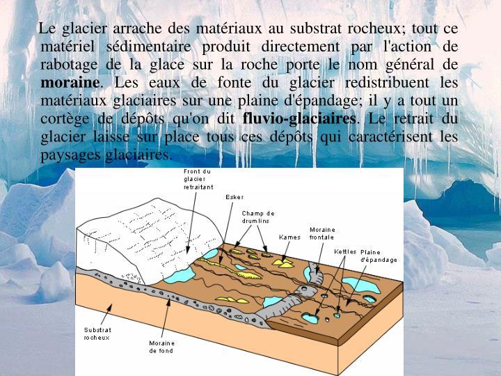 Le glacier arrache des matériaux au substrat rocheux; tout ce matériel sédimentaire produit directement par l'action de rabotage de la glace sur la roche porte le nom général de