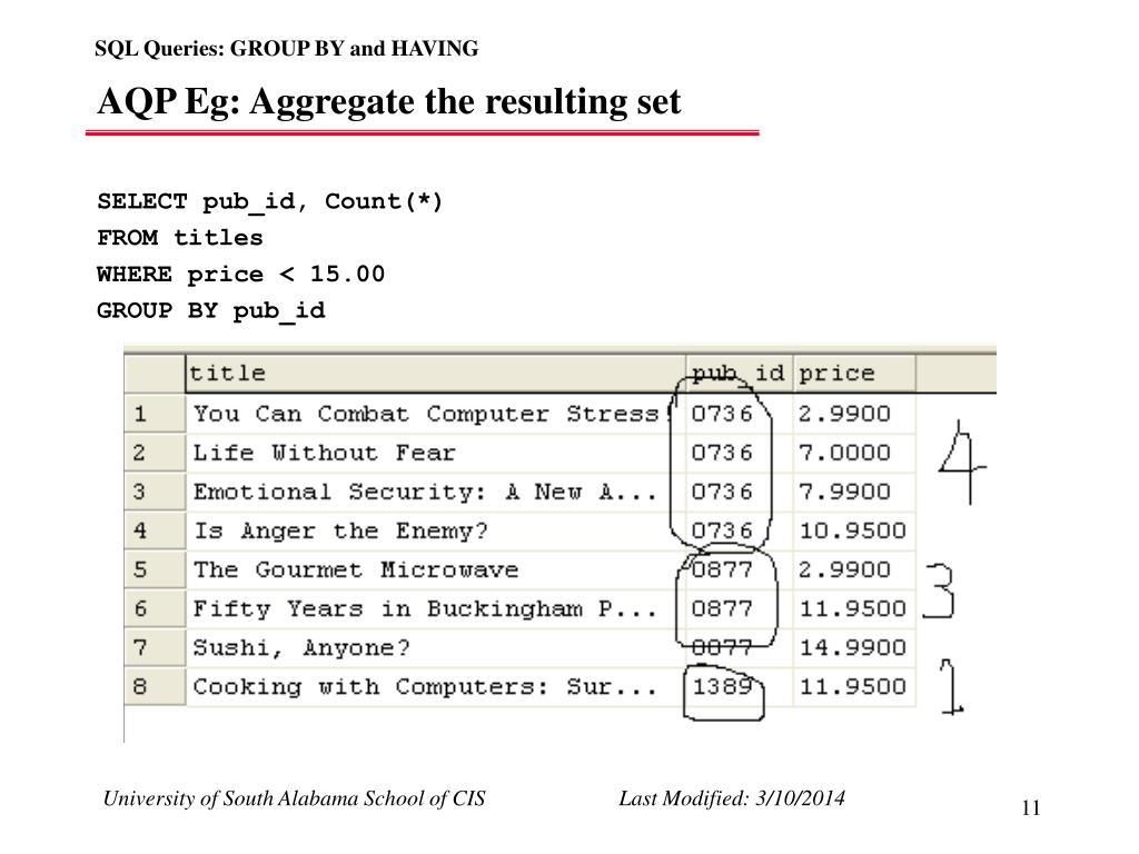 AQP Eg: Aggregate the resulting set