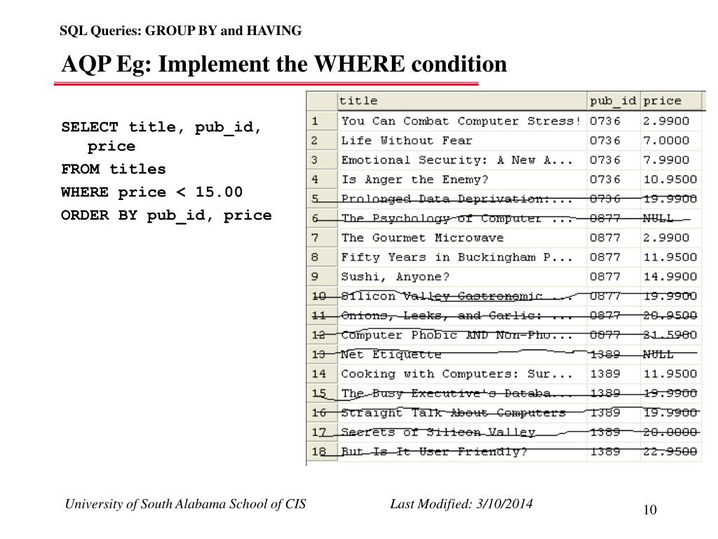 AQP Eg: Implement the WHERE condition