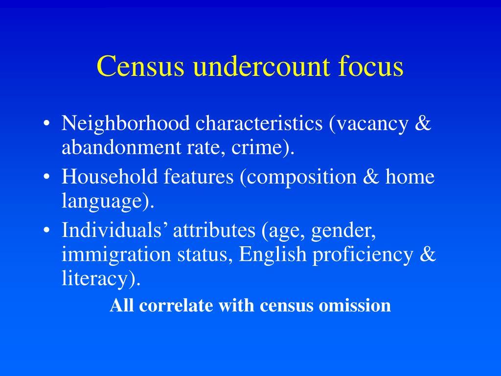Census undercount focus