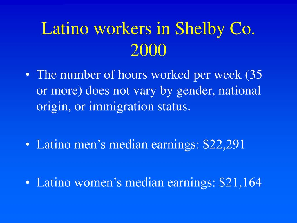 Latino workers in Shelby Co. 2000