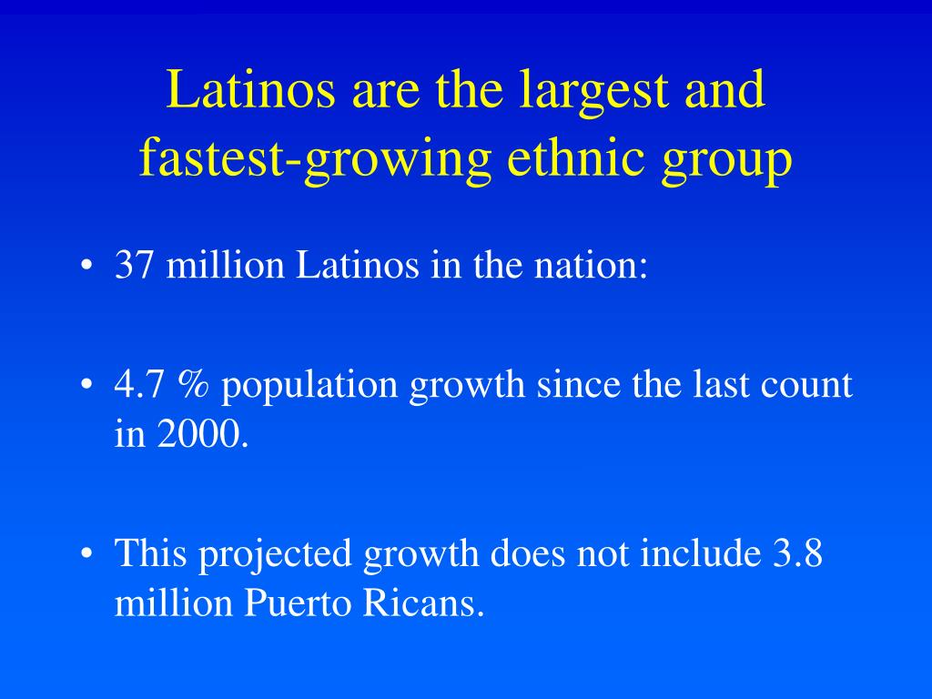 Latinos are the largest and fastest-growing ethnic group