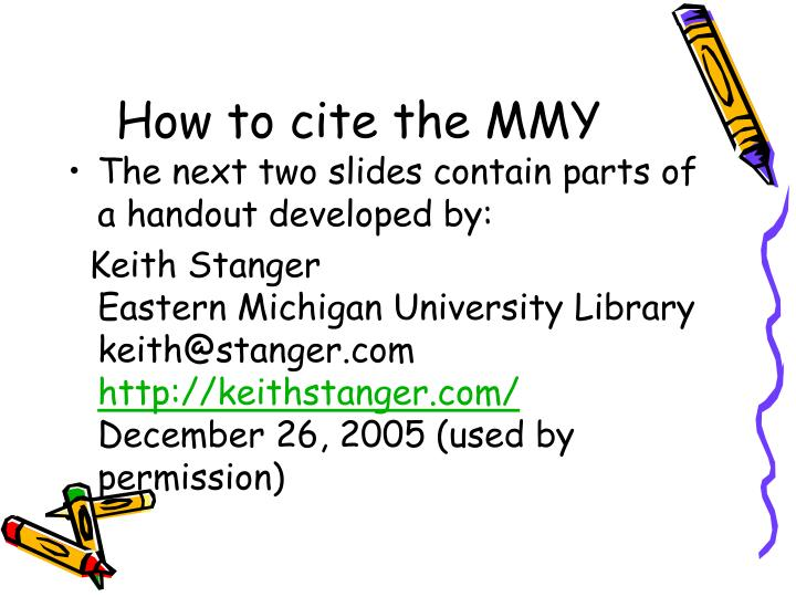How to cite the MMY