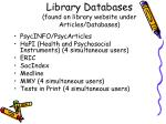 library databases found on library website under articles databases