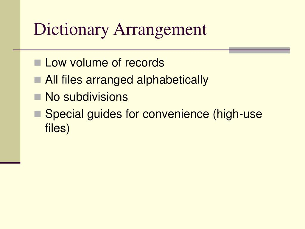 Dictionary Arrangement