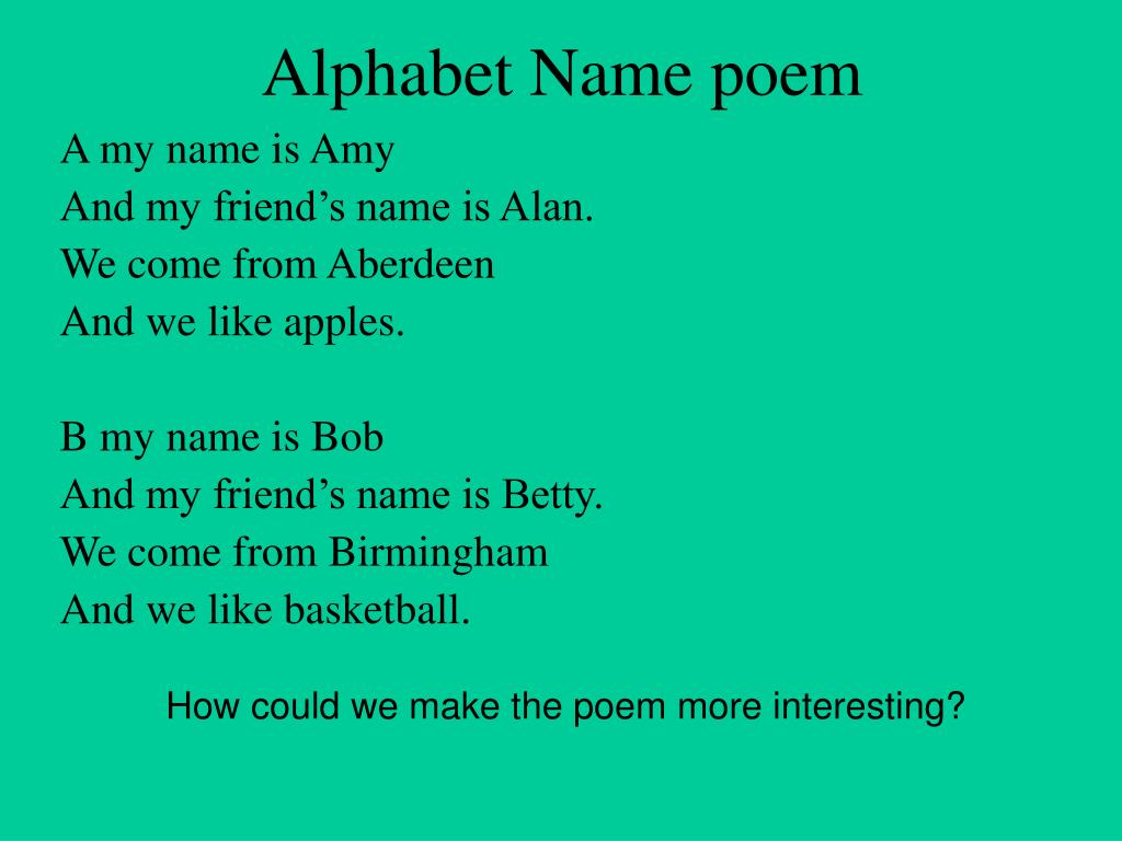 PPT - LO: To write a poem using alphabetical order and ...