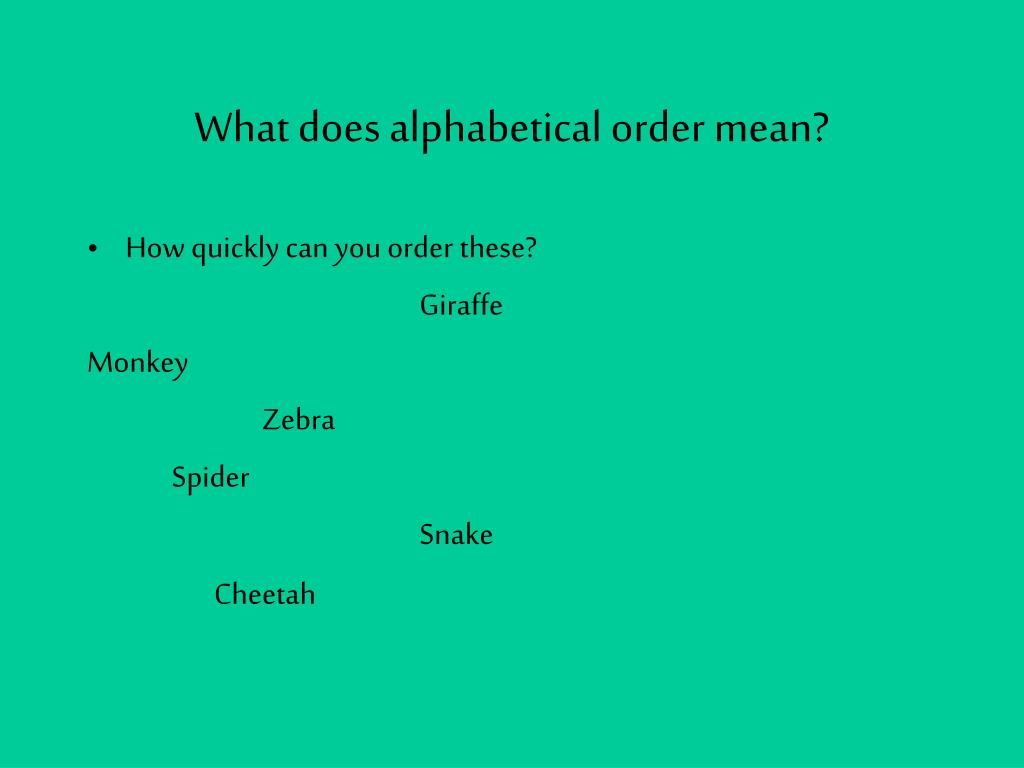how to put text in alphabetical order on powerpoint