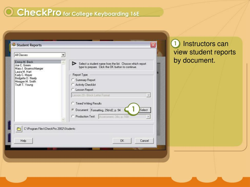 Instructors can view student reports by document.