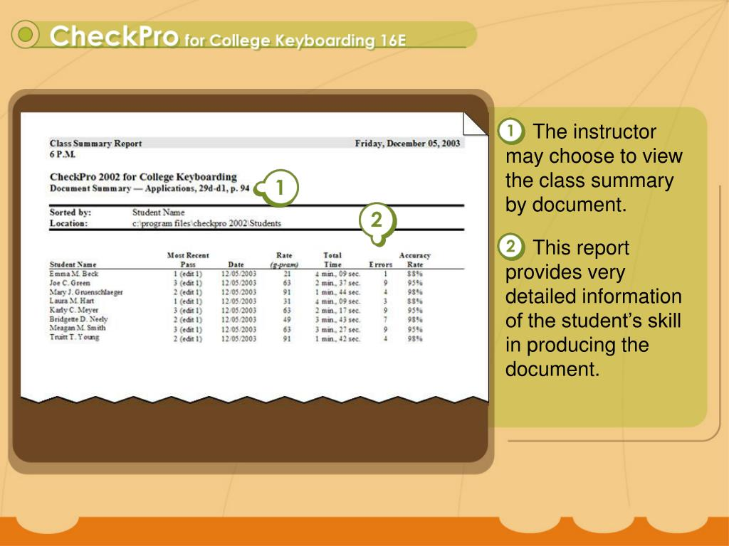 The instructor may choose to view the class summary by document.