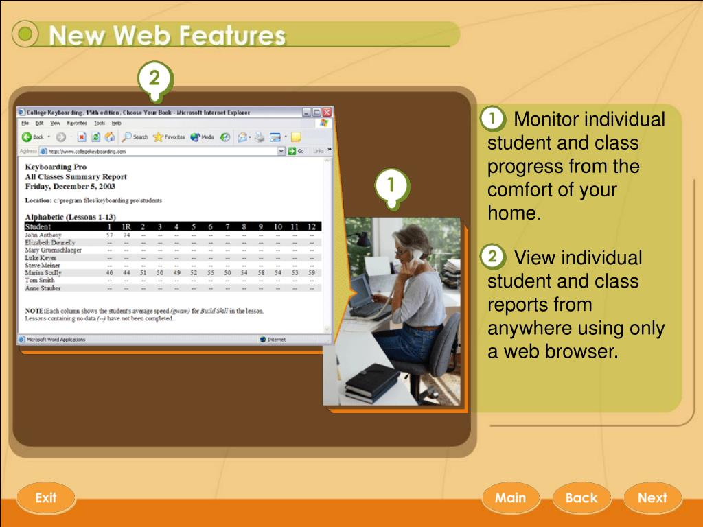 Monitor individual student and class progress from the comfort of your home.