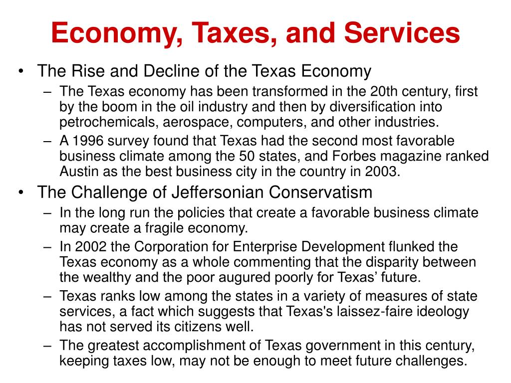 Economy, Taxes, and Services