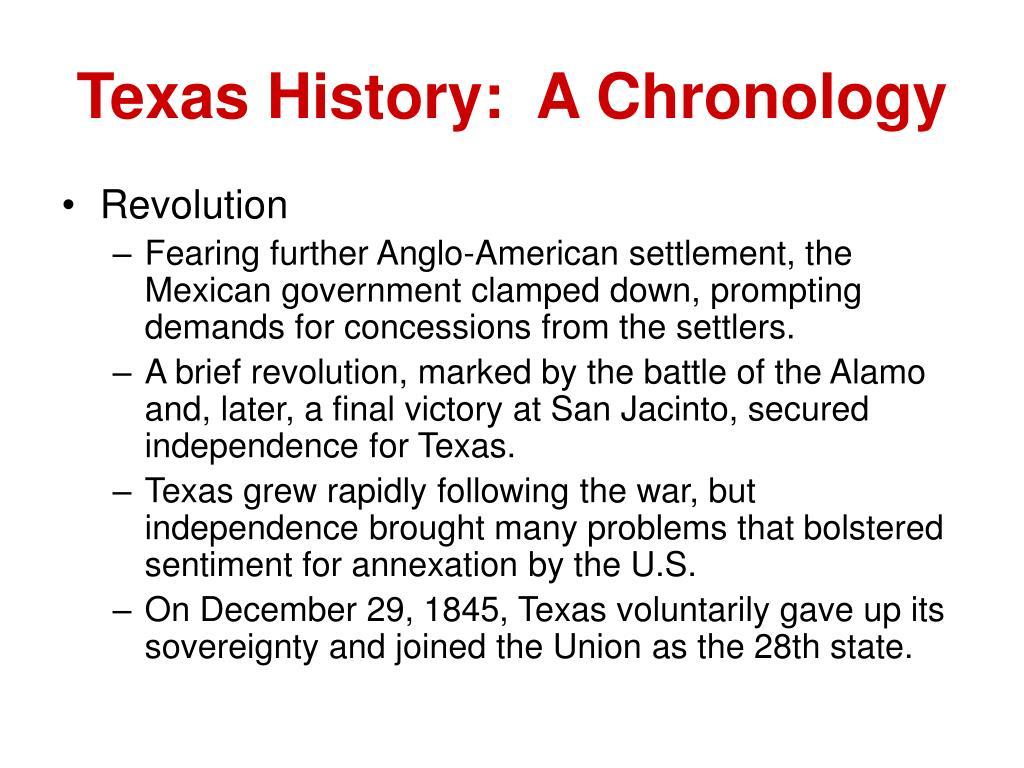 Texas History:  A Chronology