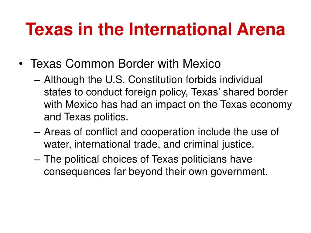 Texas in the International Arena
