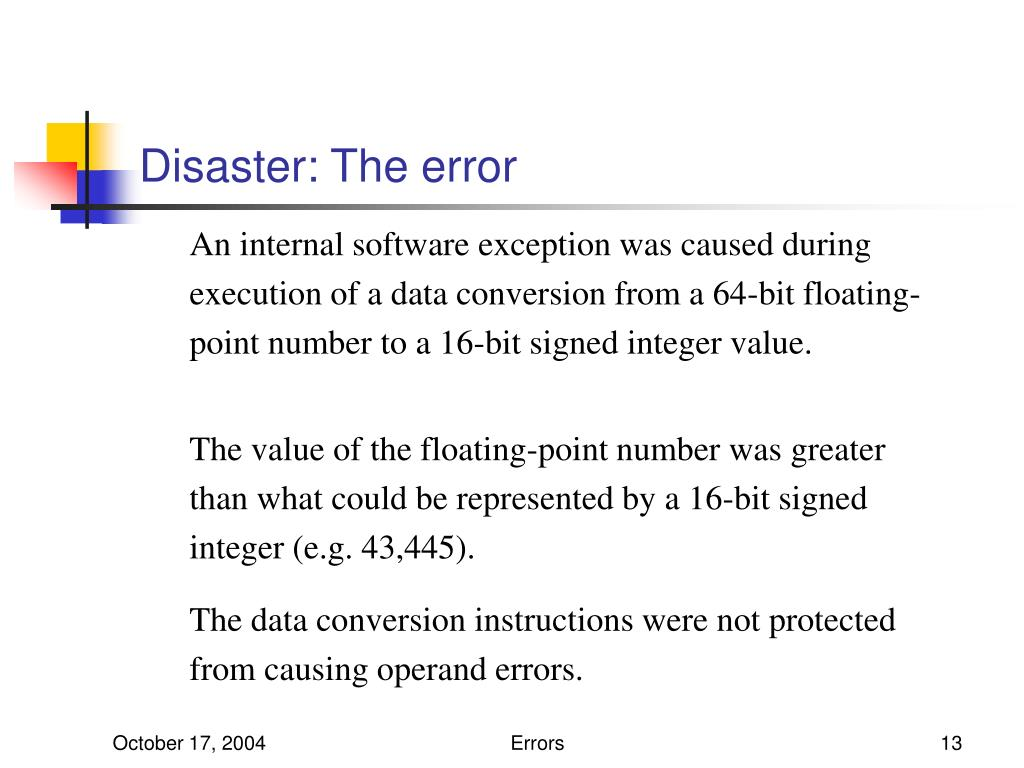 Disaster: The error