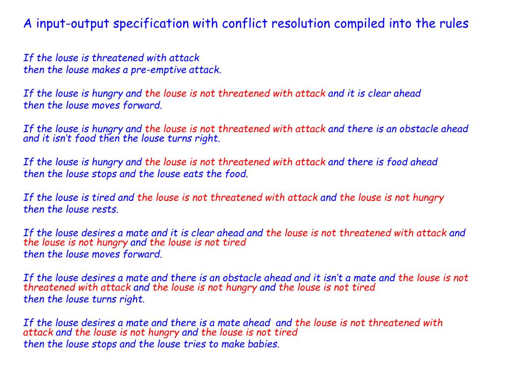 A input-output specification with conflict resolution compiled into the rules