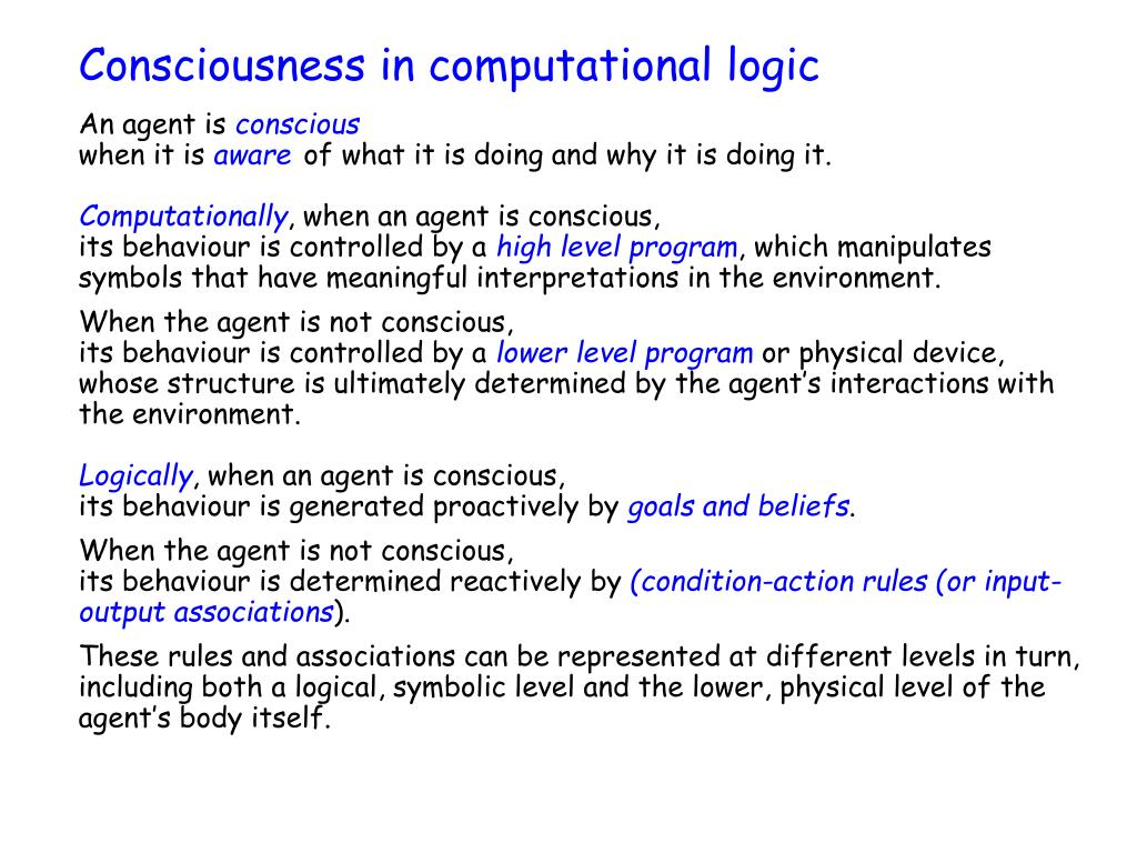 Consciousness in computational logic