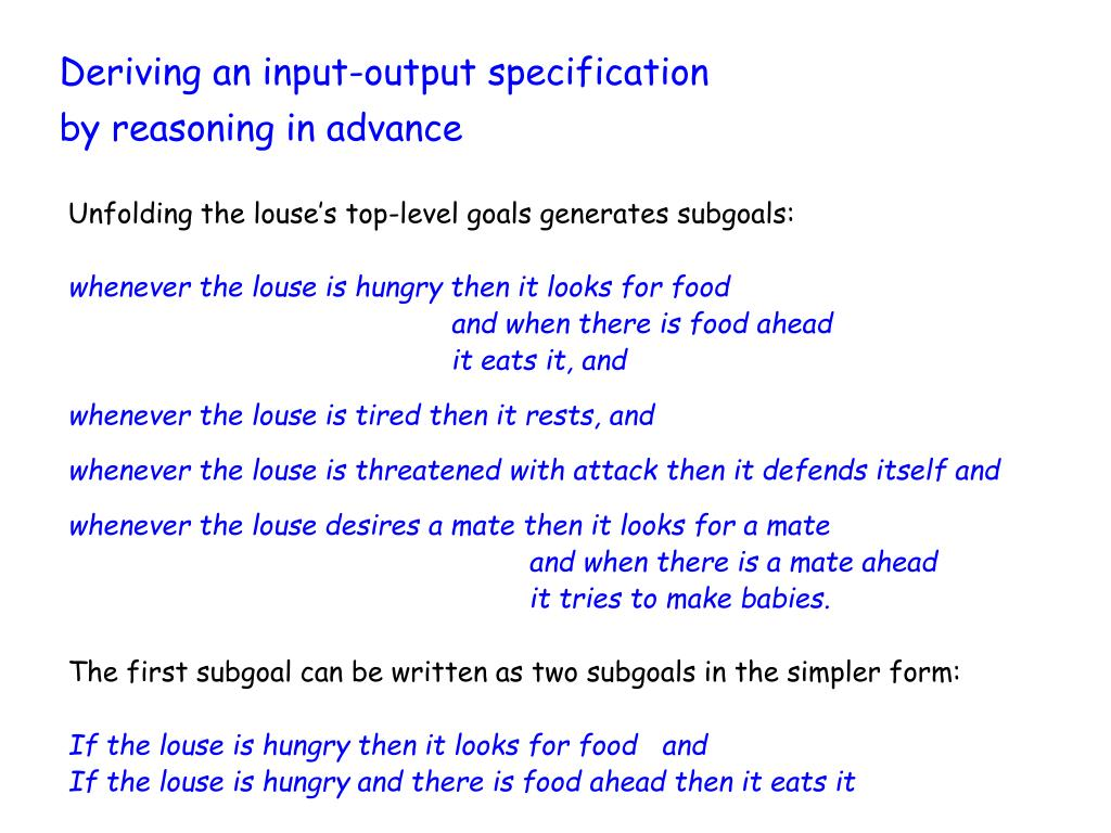 Deriving an input-output specification