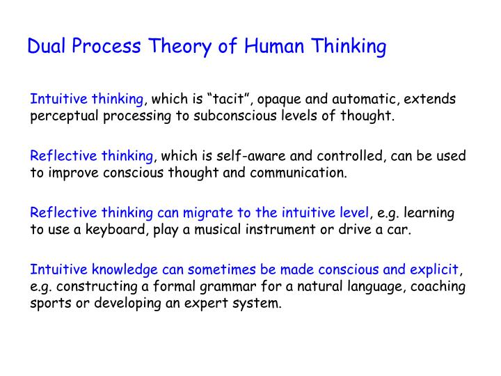 Dual process theory of human thinking