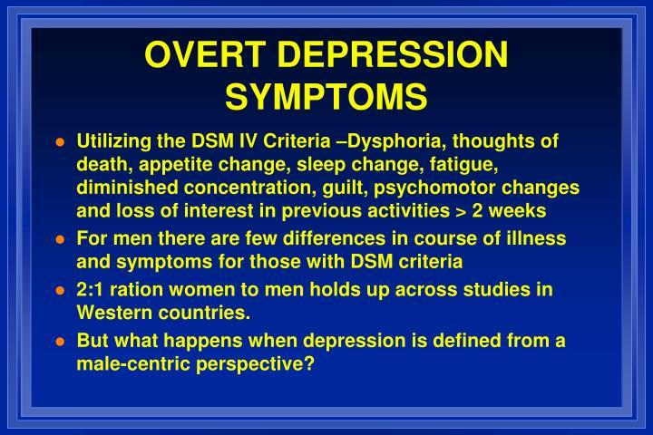 OVERT DEPRESSION SYMPTOMS