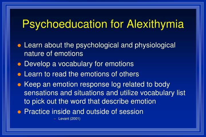 Psychoeducation for Alexithymia