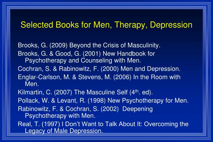 Selected Books for Men, Therapy, Depression