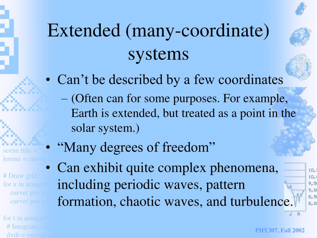 Extended (many-coordinate) systems