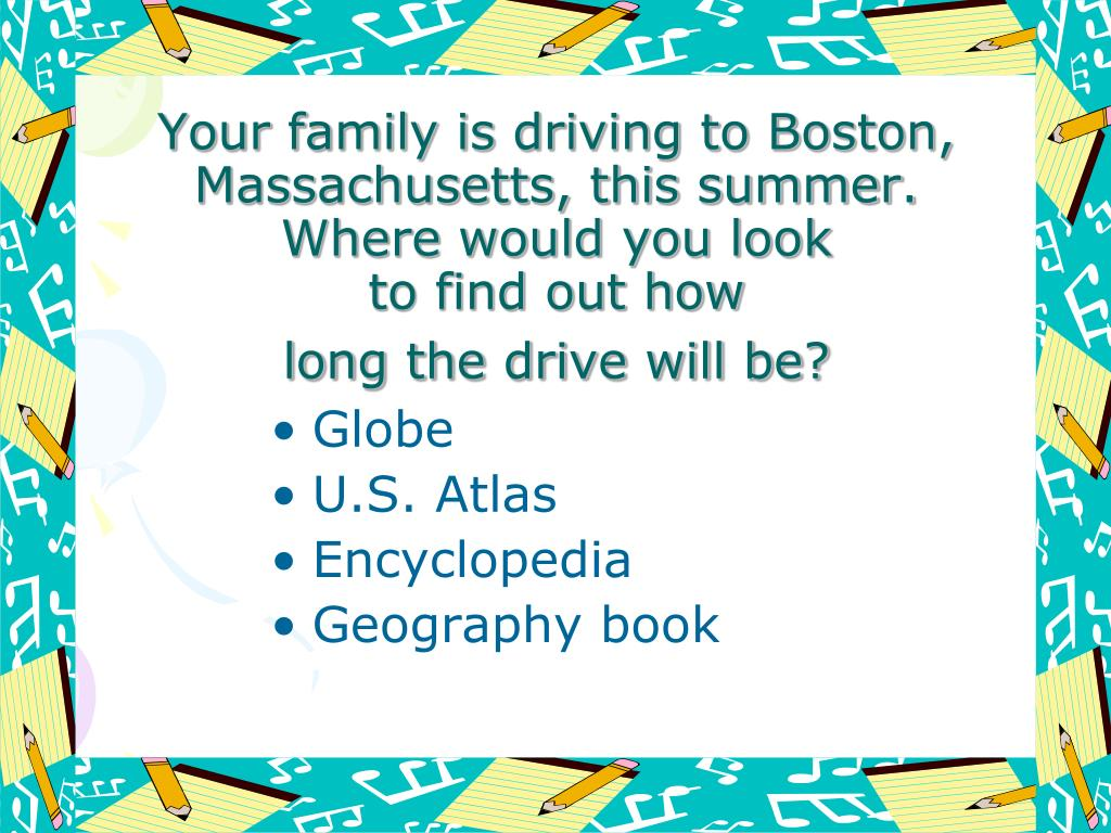 Your family is driving to Boston, Massachusetts, this summer.