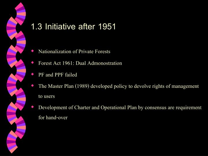 1.3 Initiative after 1951
