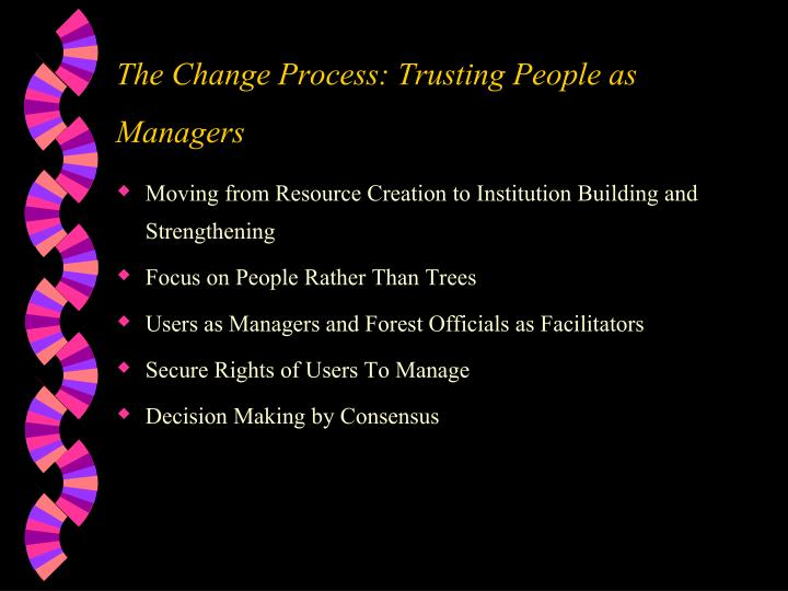 The Change Process: Trusting People as Managers