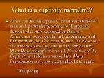 what is a captivity narrative